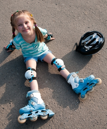 little girl on roller skates Stock Photo - 13903898