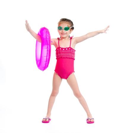 niedliche kleine Mädchen in Badeanzug Standard-Bild