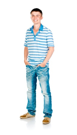 teenagers standing: young man isolated on white background