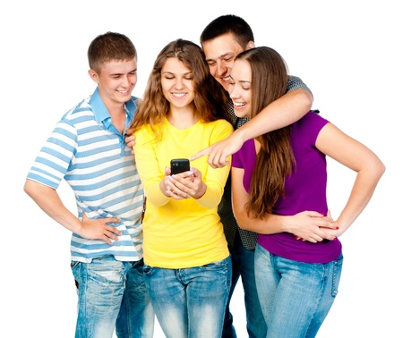 female bonding: group of young people with mobile phone on a white background