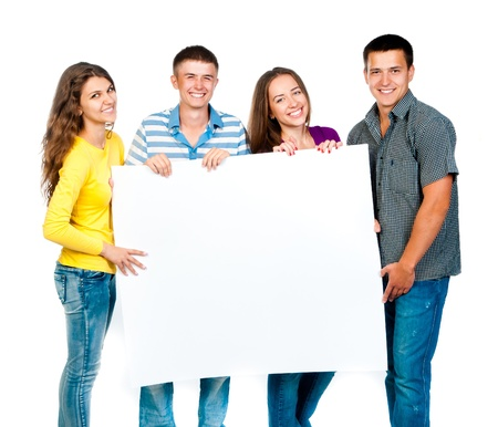 group of young people with a white banner photo