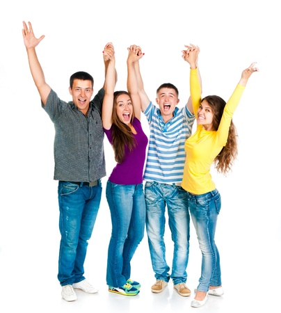 hand up: group of young people holding hands isolated on a white background