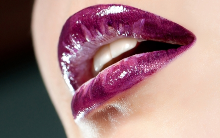 close-up body part portrait of beautiful woman s lips bright  make up photo