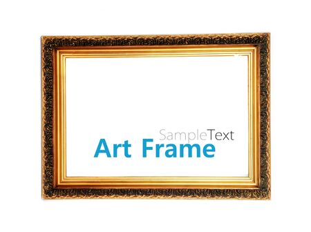 Gold frame isolated on a white background with sample text