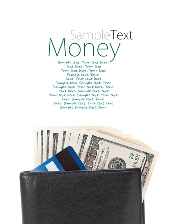 men s wallet with dollars and credit cards with sample text photo