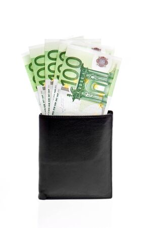 wallet with euro banknotes isolated on white photo