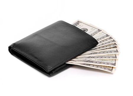 bolsa dinero: billetera con dólares aislado en blanco