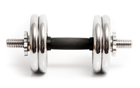 metal dumbbell on a white background photo
