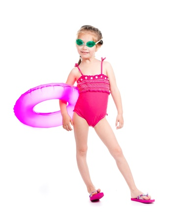 yüzme takım sevimli küçük kız Stock Photo