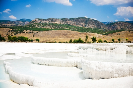 Natural travertine pools and terraces, Pamukkale, Turkey photo