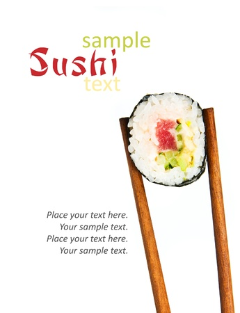 sushi roll: Japanese sushi rice, raw fish and seafood with sample text