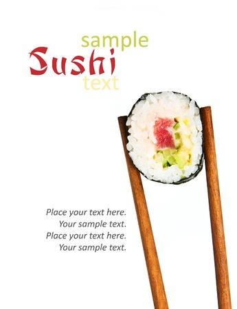 Japon suşi pirinç, çiğ balık ve örnek metin ile deniz