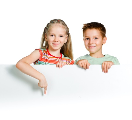 cute kids with white board photo
