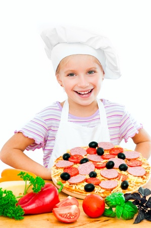 little dough: Young girl shows a pizza on a white background