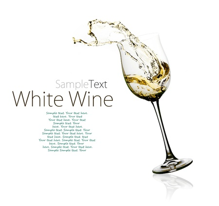 on white: Glass of white wine with splashes on a w Stock Photo