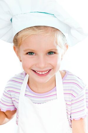 cute little baby dressed as a cook photo