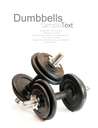 gym equipment: black dumbbell isolated on a white background with sample text