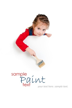 holding blank sign: Pretty little girl with a brush and white banner