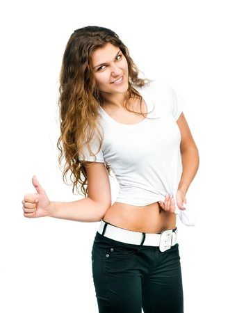 Smiling beautiful women posing with blank white shirts  Ready for your design photo