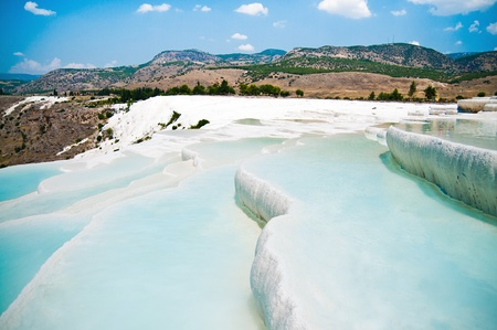 Famous travertine pools and terraces in Pamukkale Turkey photo