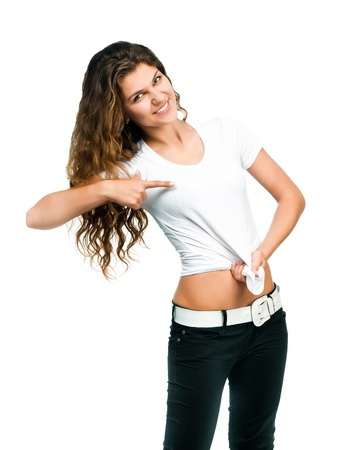 tshirt: Beautiful women posing with blank white shirts  Ready for your design