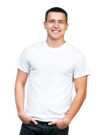 shirt design: white t-shirt on a young man isolated Stock Photo