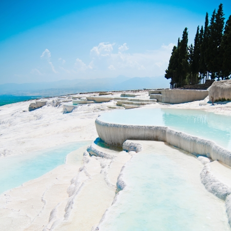 hierapolis: Travertine pools and terraces in Pamukkale Turkey