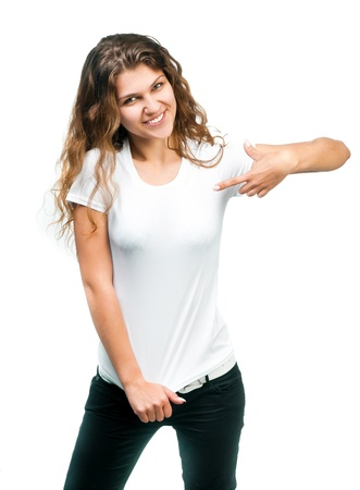 woman in white: Young beautiful girl posing with blank white shirts  Ready for your design