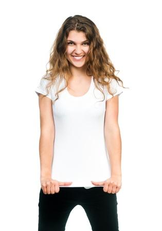 あなたのデザインの空白の白い t シャツ準備でポーズ美しい女性 写真素材