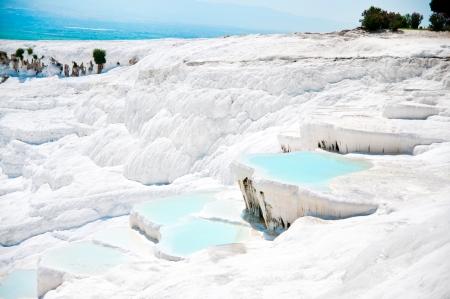 carbonate: Beautiful blue travertine pools and terraces in Pamukkale Turkey