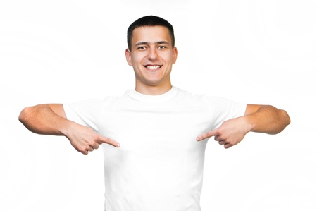 man t shirt: white t-shirt on a young smiling man isolated