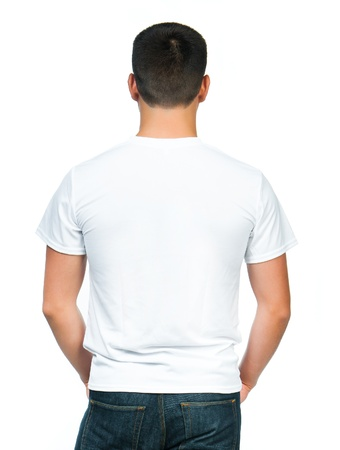 man t shirt: Back white t-shirt on a young man isolated Stock Photo