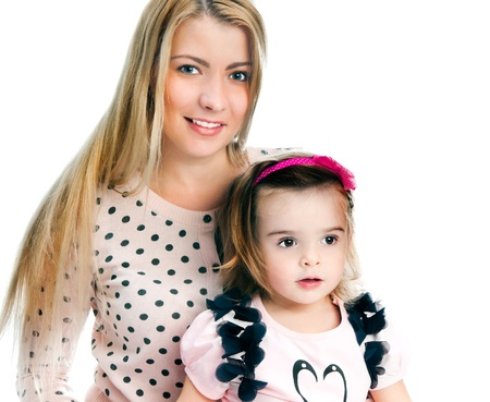 atcamera: Mother with daughter on white background