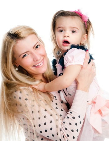atcamera: Mother with daughter osolated on white background