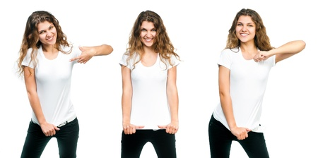 t shirt model: Young beautiful girl posing with blank white shirts  Ready for your design