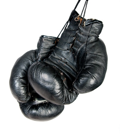 boxing gloves: Black boxing gloves isolated on white background