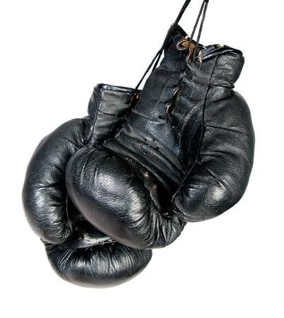 guantes de boxeo: Negro guantes de boxeo aislados en fondo blanco