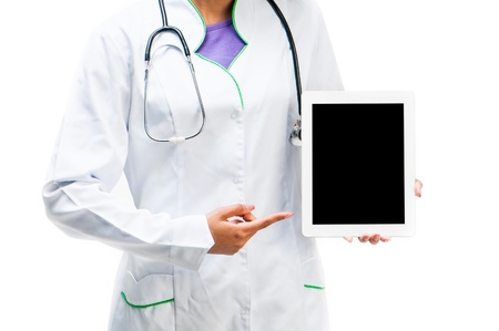 Doctor shows on a white digital tablet photo