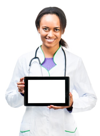 Nice Doctor shows a digital tablet isolated on white background photo