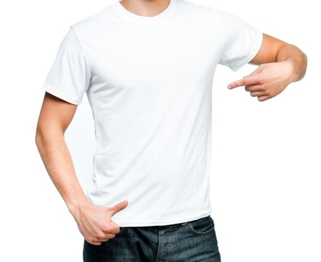 t shirt model: white t-shirt on a young man isolated  Ready for your design