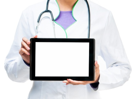 Doctor shows a digital tablet isolated on white background photo