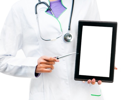 Doctor holding a digital tablet isolated on white background photo