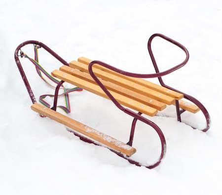 luge: Sledge on a white snow Stock Photo