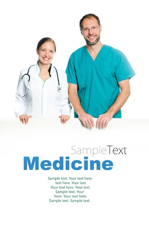 hospital background: friendly doctors holding a white blank board with sample text