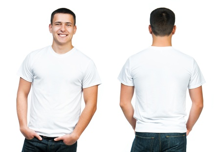 man t shirt: White t-shirt on a young man isolated, front and back