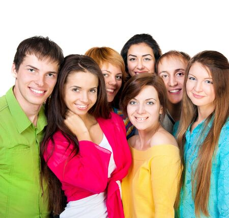 Happy young group of people standing together over white photo
