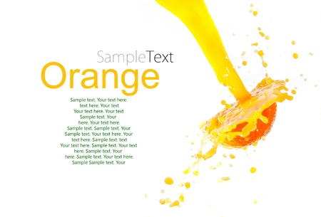 orange juice splash isolated on white background with sample text photo
