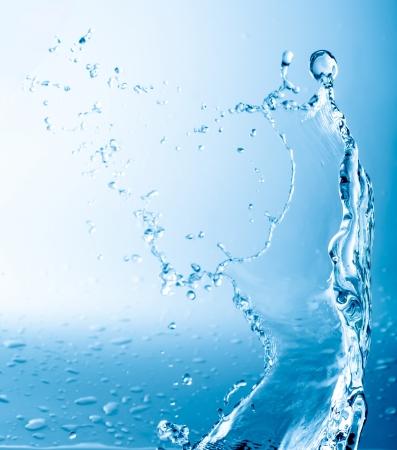 water level: blue splash close up shoot Stock Photo
