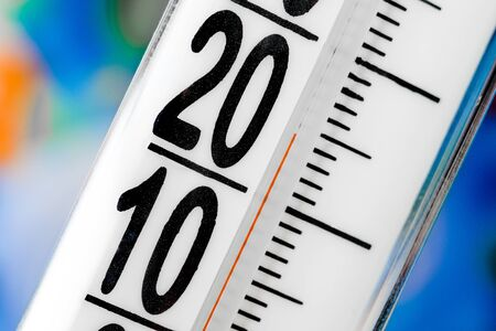 hotness: thermometer scale close up on a blur background Stock Photo