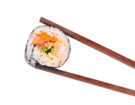 sushi restaurant: Sushi in chopsticks isolated on a white background